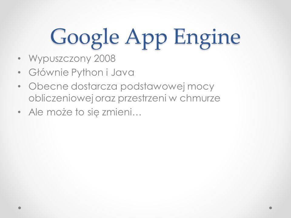 Google App Engine Wypuszczony 2008 Głównie Python i Java