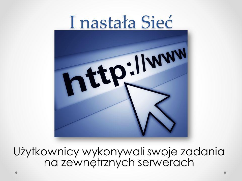 Użytkownicy wykonywali swoje zadania na zewnętrznych serwerach