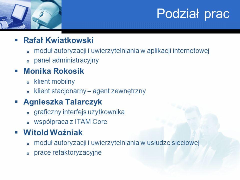 Podział prac Rafał Kwiatkowski Monika Rokosik Agnieszka Talarczyk