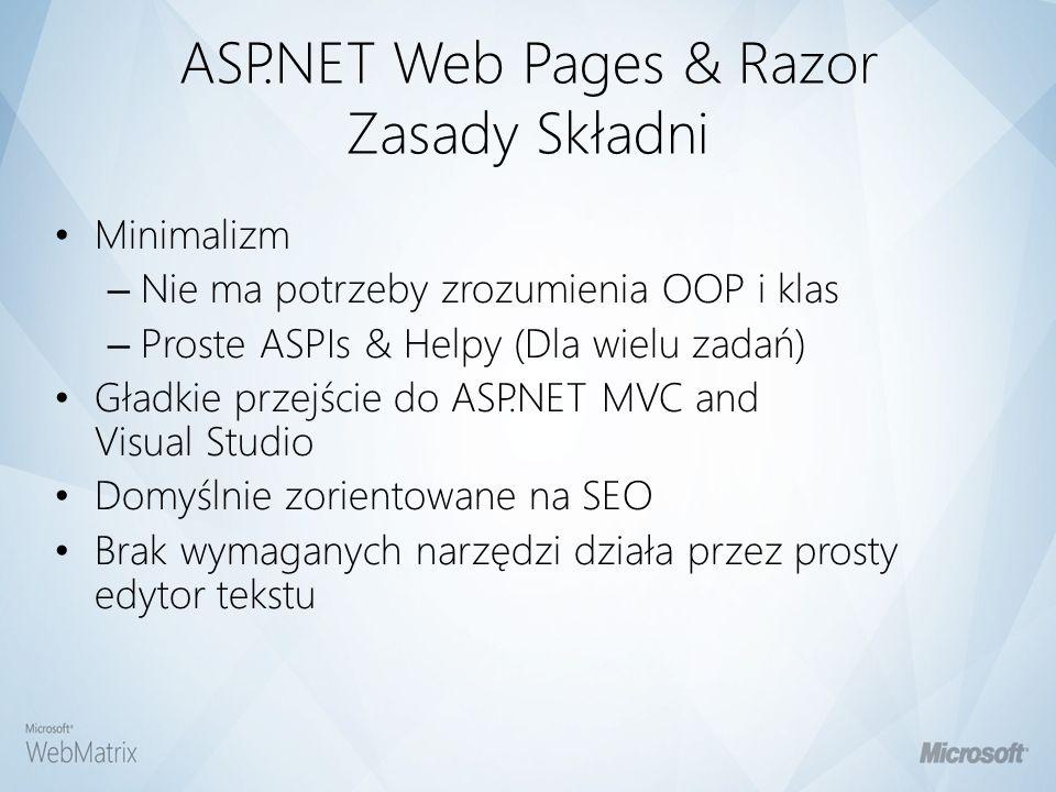 ASP.NET Web Pages & Razor Zasady Składni