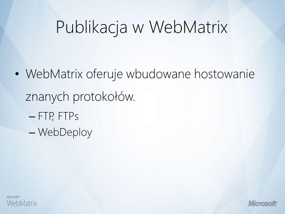 Publikacja w WebMatrix