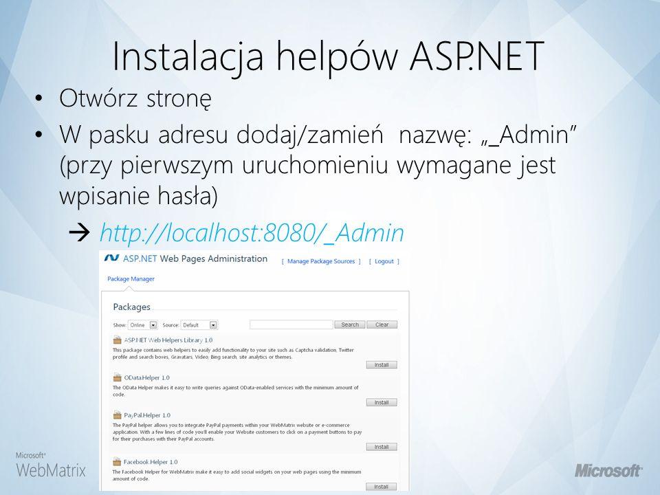Instalacja helpów ASP.NET