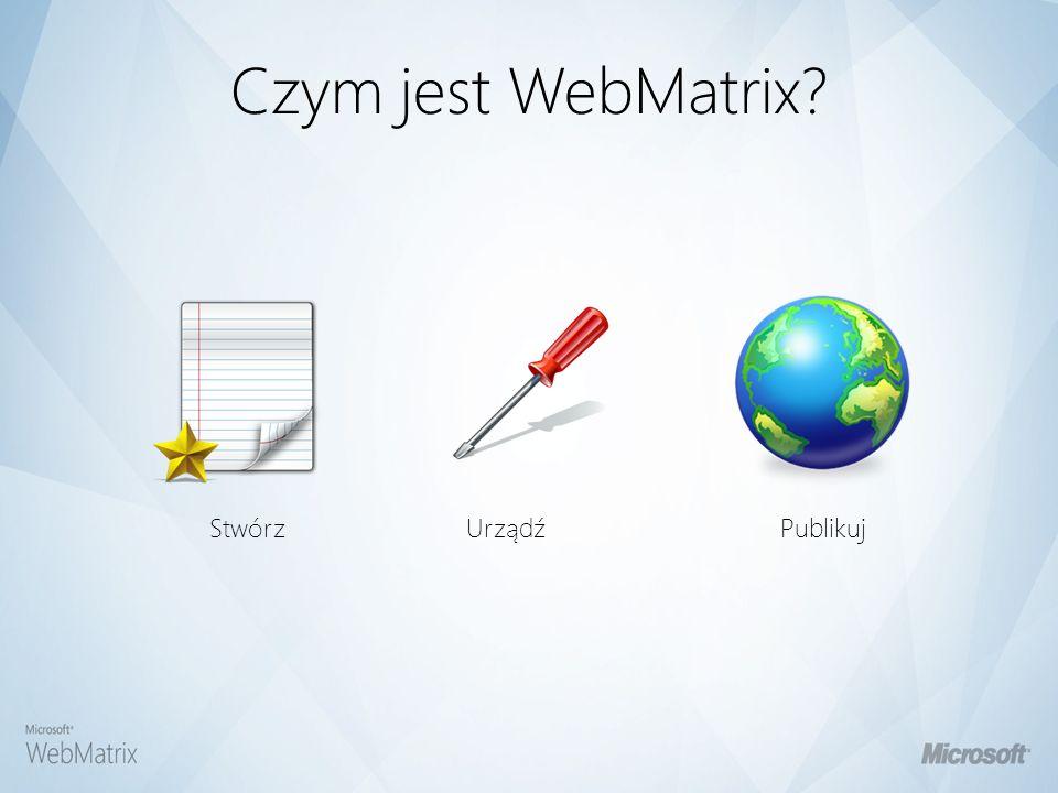 Czym jest WebMatrix Publikuj Urządź Stwórz