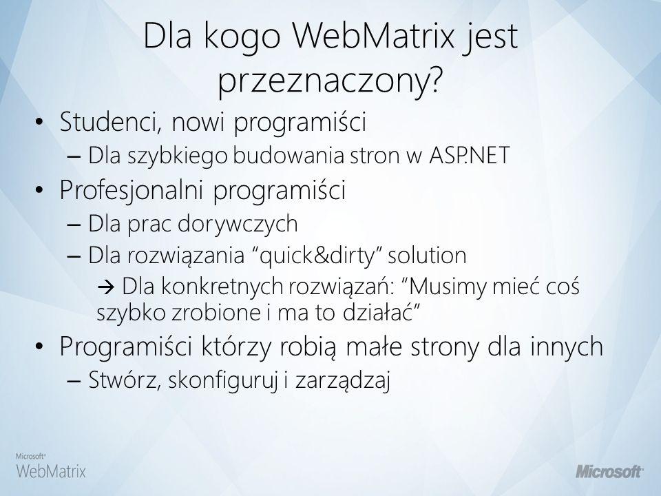Dla kogo WebMatrix jest przeznaczony