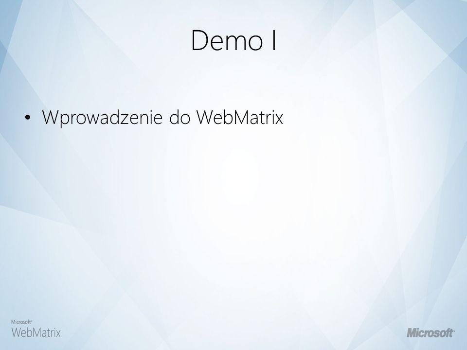Demo I Wprowadzenie do WebMatrix
