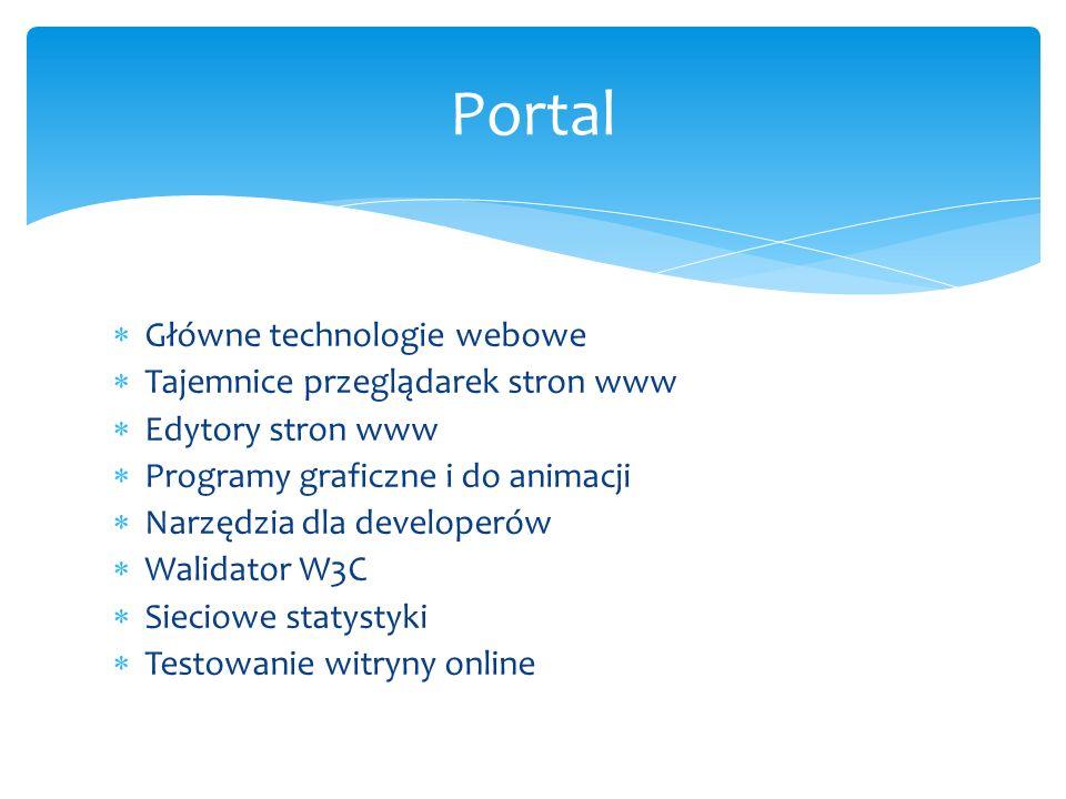 Portal Główne technologie webowe Tajemnice przeglądarek stron www