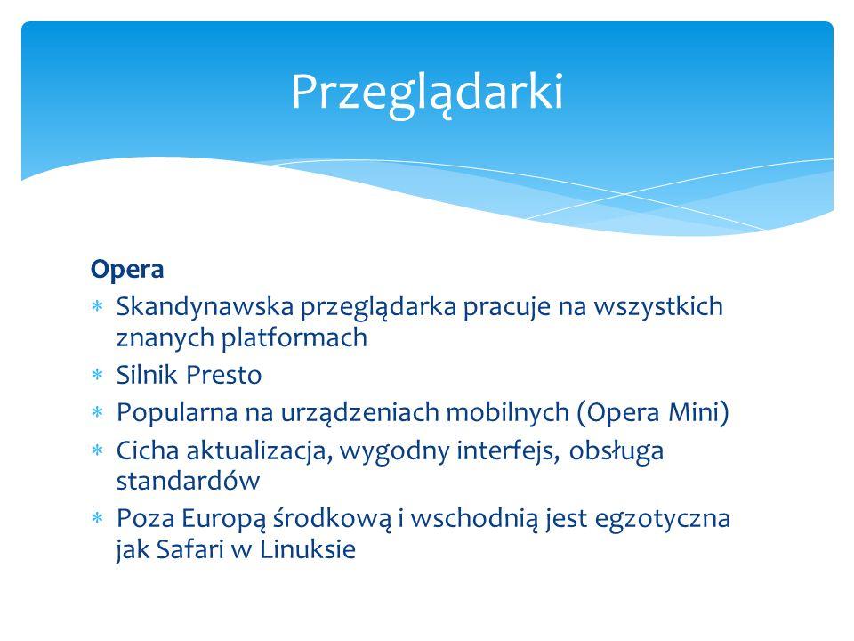 Przeglądarki Opera. Skandynawska przeglądarka pracuje na wszystkich znanych platformach. Silnik Presto.