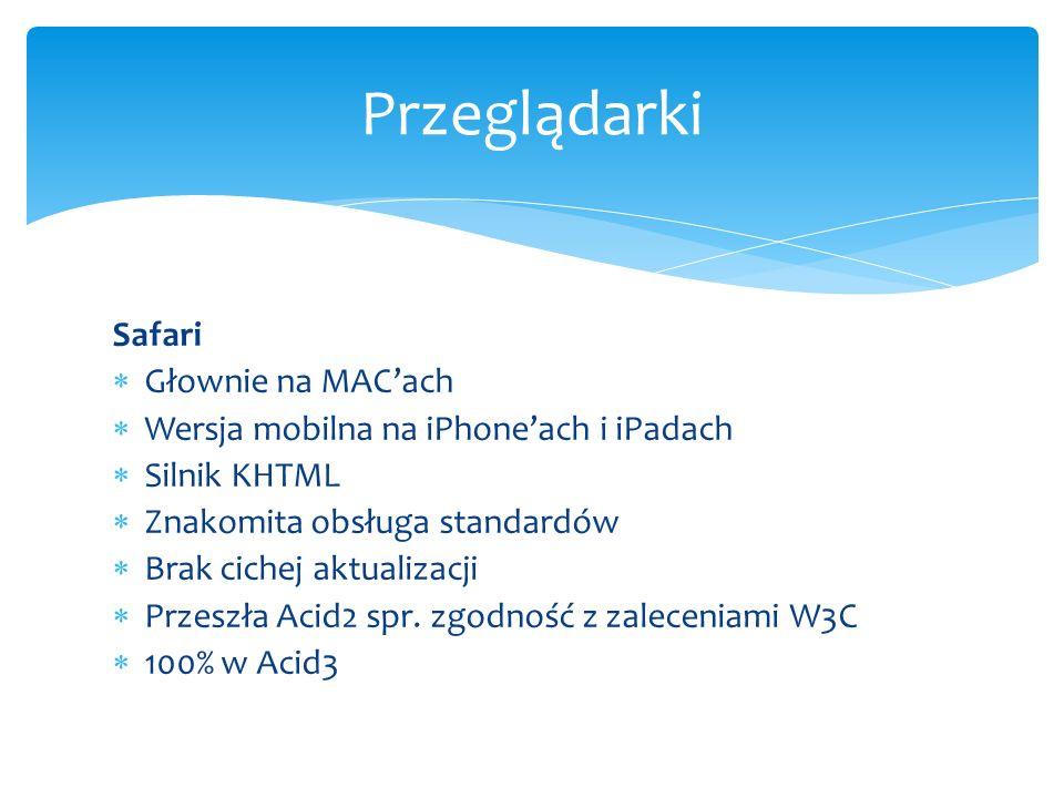 Przeglądarki Safari Głownie na MAC'ach