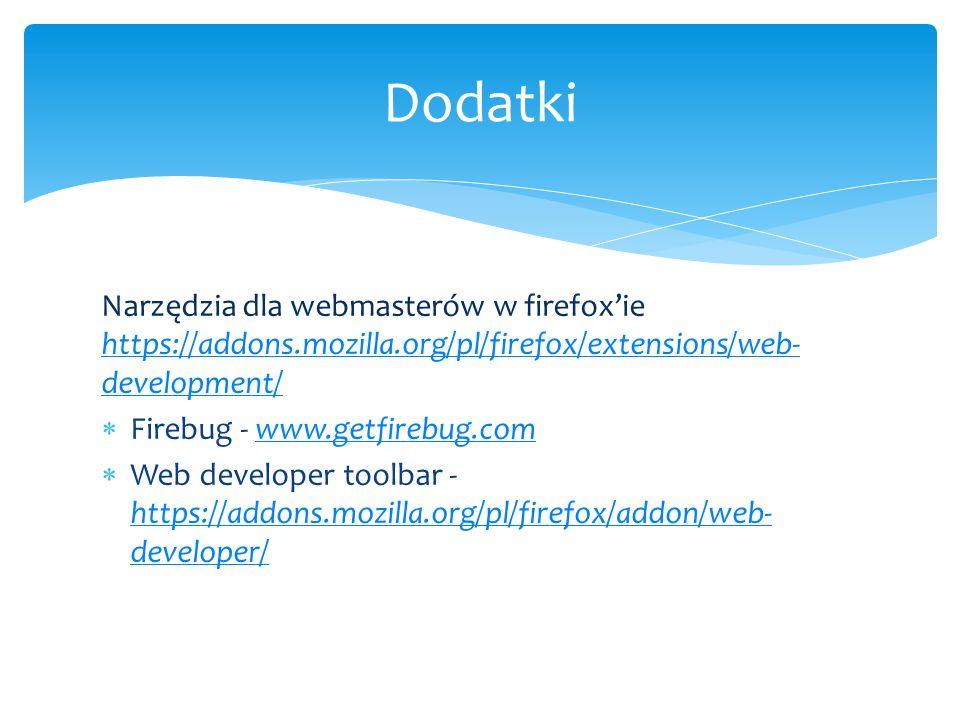 Dodatki Narzędzia dla webmasterów w firefox'ie https://addons.mozilla.org/pl/firefox/extensions/web-development/