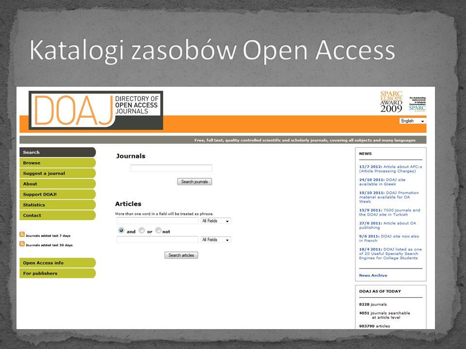 Katalogi zasobów Open Access