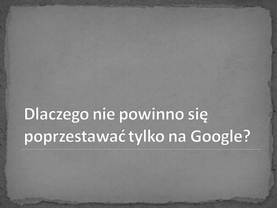 Dlaczego nie powinno się poprzestawać tylko na Google