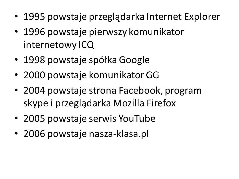 1995 powstaje przeglądarka Internet Explorer