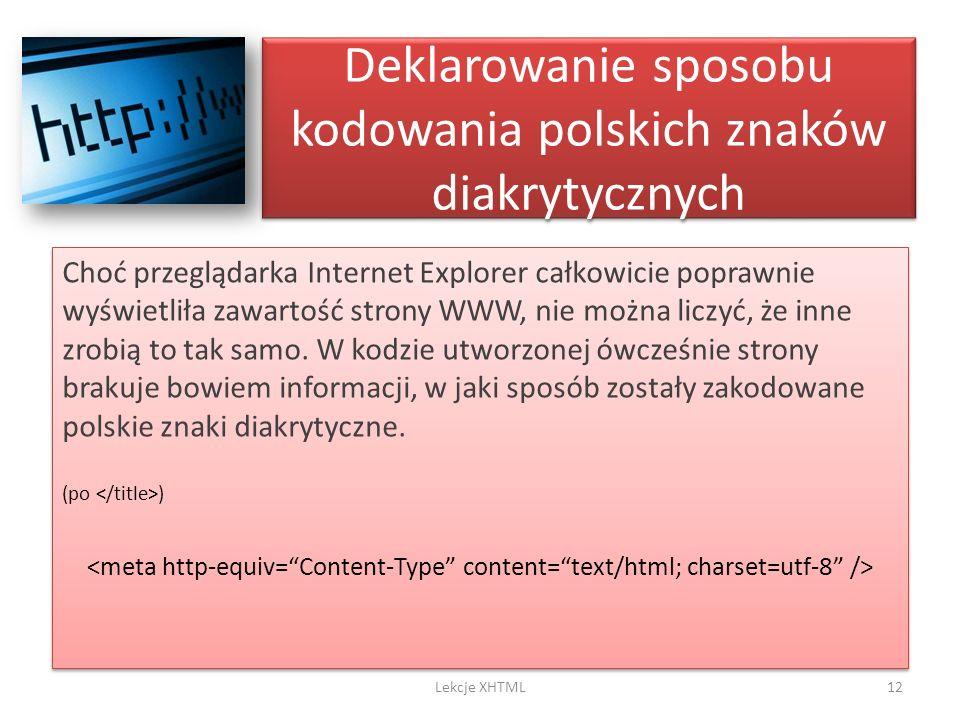 Deklarowanie sposobu kodowania polskich znaków diakrytycznych
