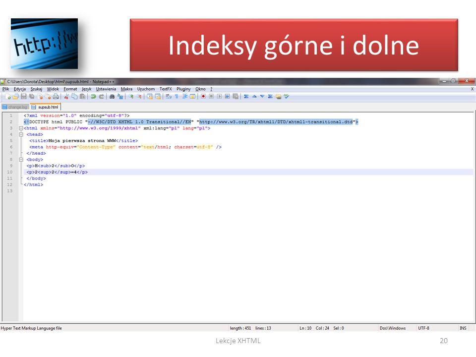 Indeksy górne i dolne Lekcje XHTML