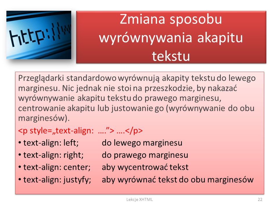 Zmiana sposobu wyrównywania akapitu tekstu
