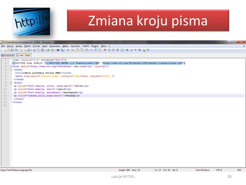 Zmiana kroju pisma Lekcje XHTML