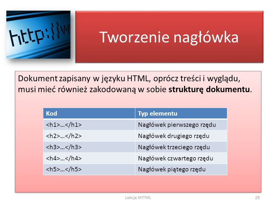 Tworzenie nagłówka Dokument zapisany w języku HTML, oprócz treści i wyglądu, musi mieć również zakodowaną w sobie strukturę dokumentu.