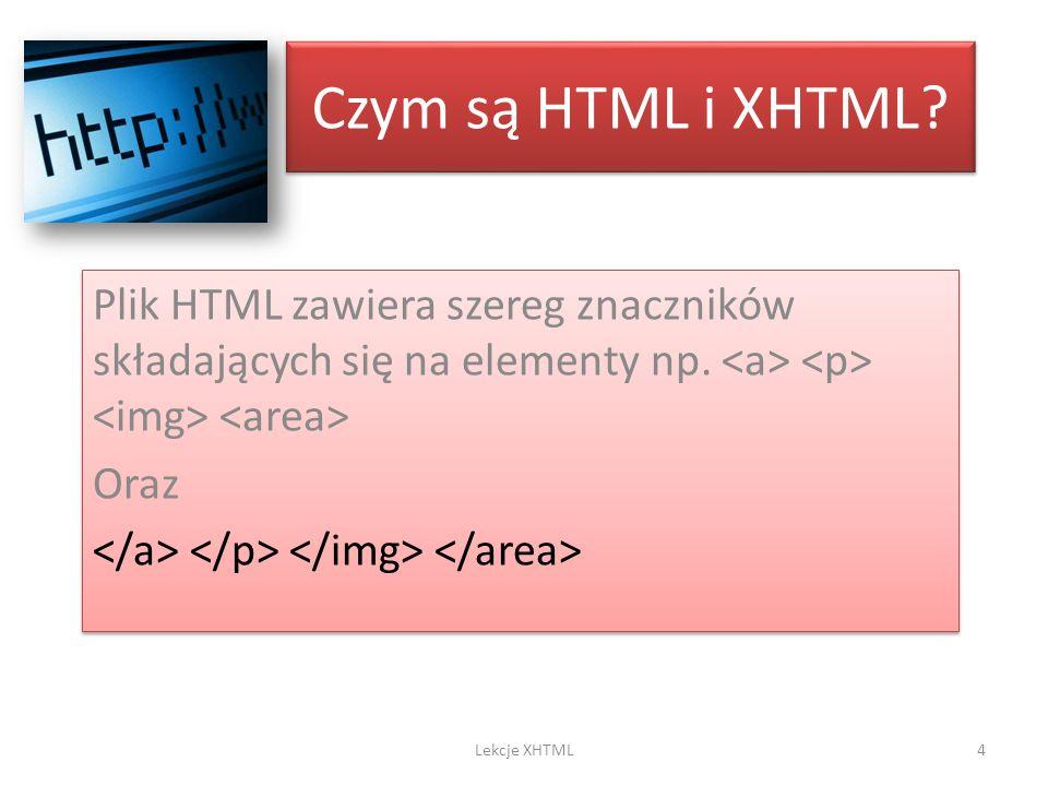 Czym są HTML i XHTML Plik HTML zawiera szereg znaczników składających się na elementy np. <a> <p> <img> <area>