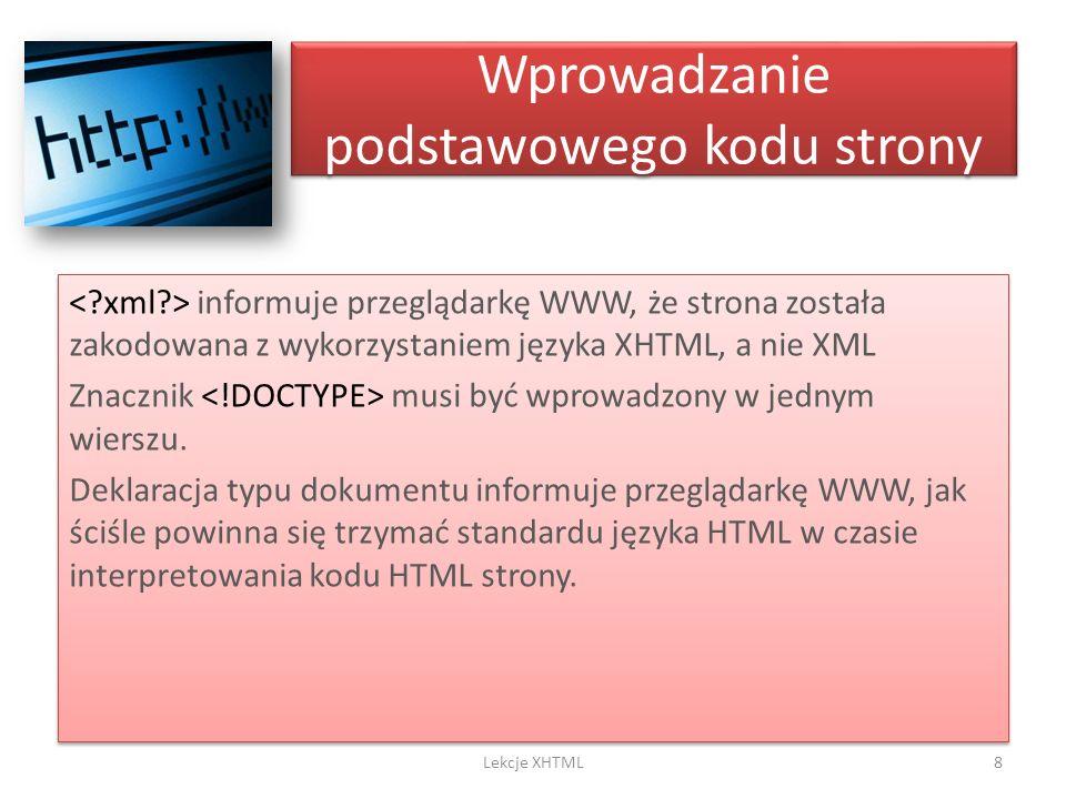 Wprowadzanie podstawowego kodu strony