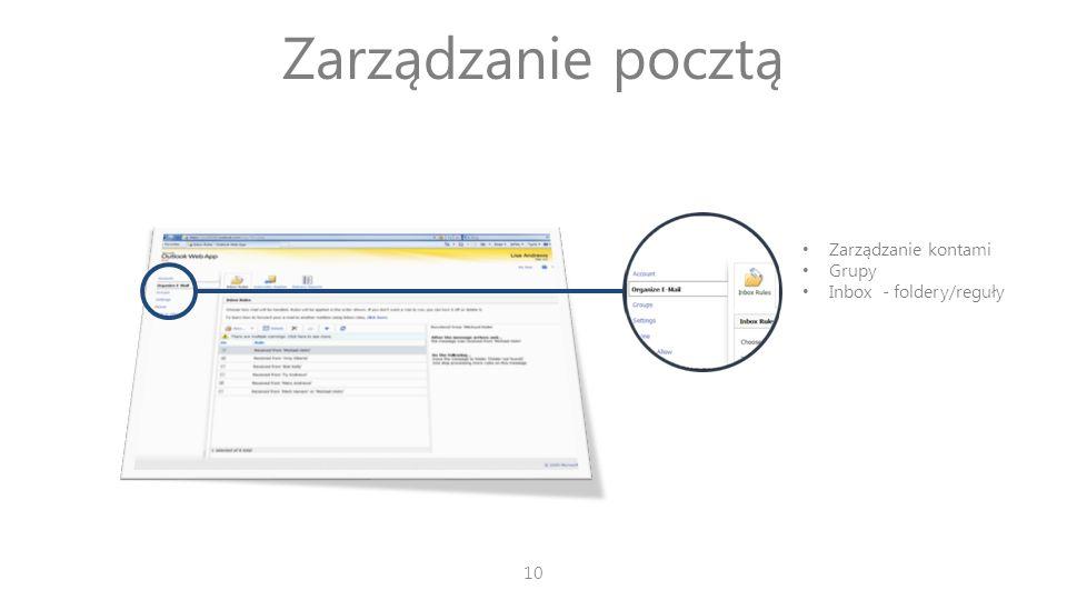 Zarządzanie pocztą Zarządzanie kontami Grupy Inbox - foldery/reguły