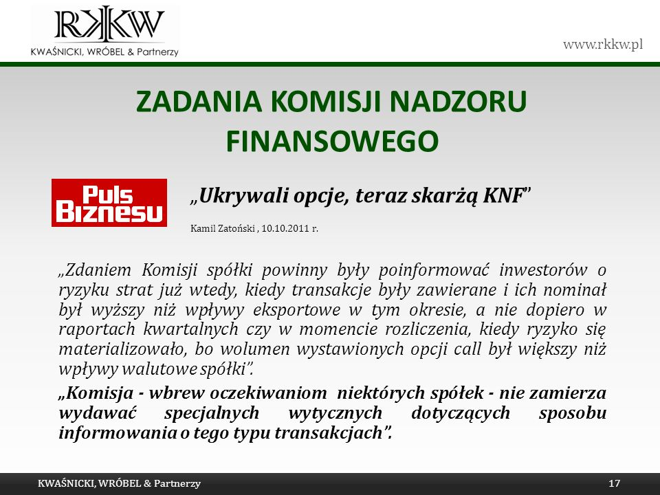 Zadania komisji nadzoru finansowego