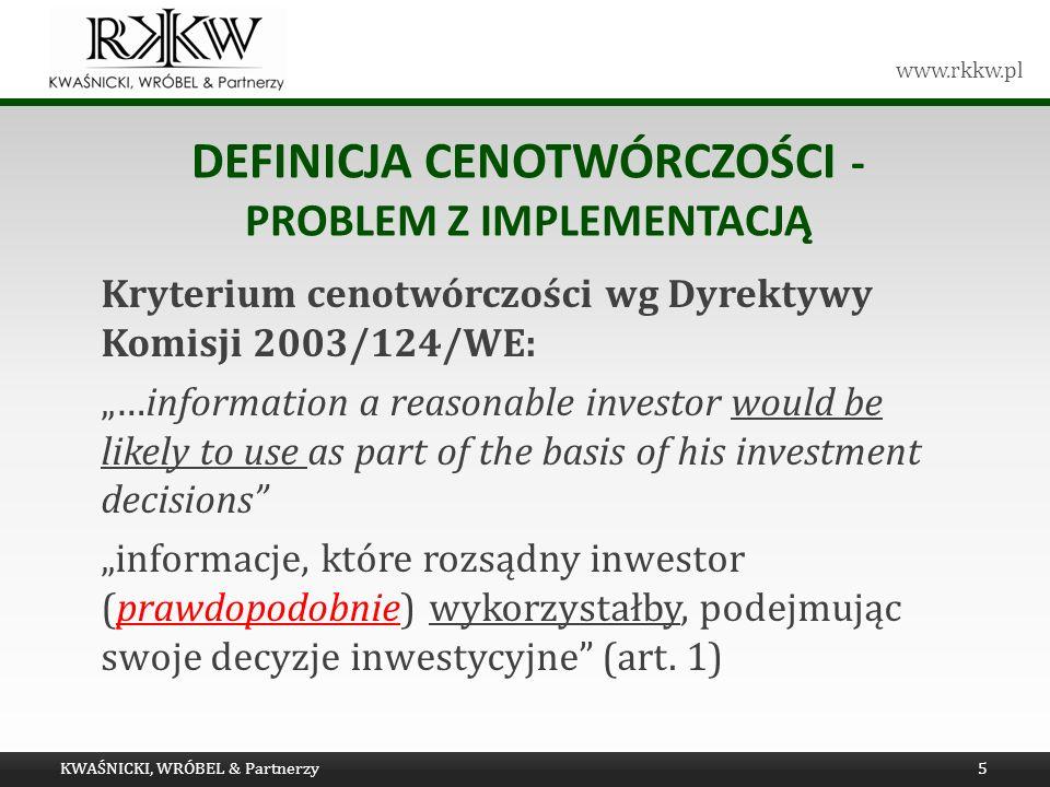 Definicja Cenotwórczości - problem z implementacją