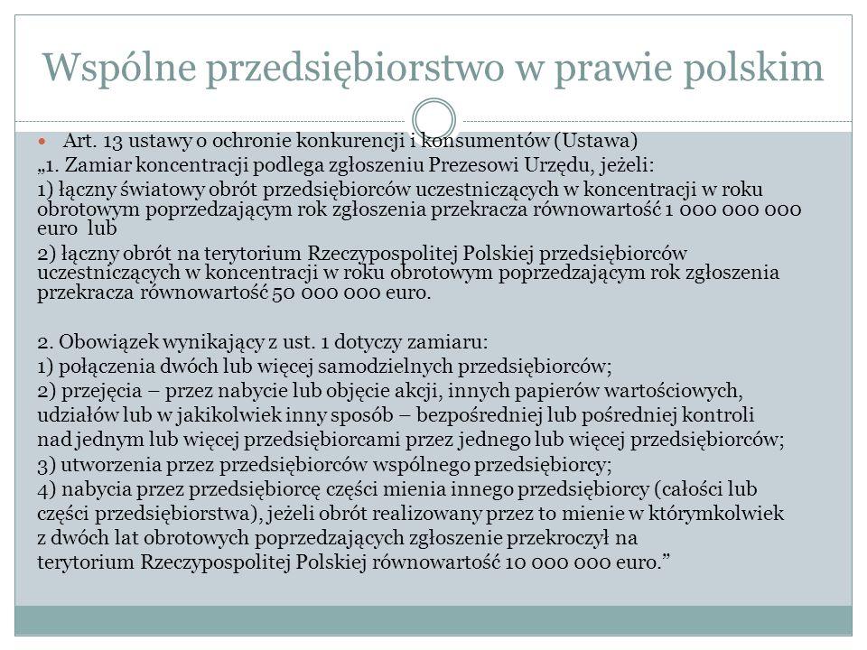 Wspólne przedsiębiorstwo w prawie polskim