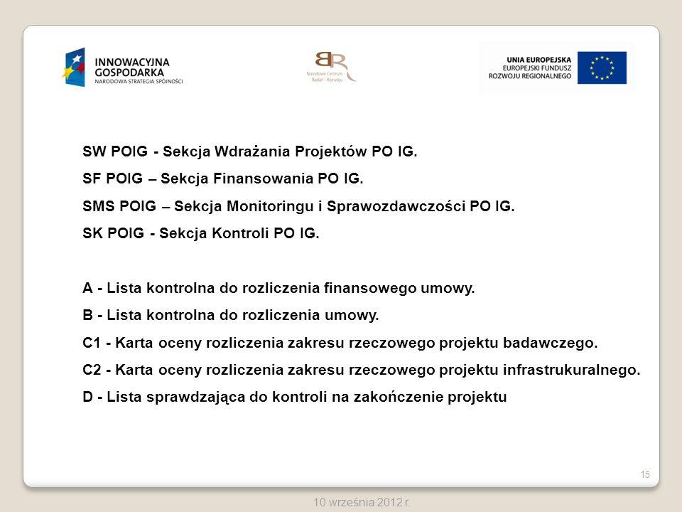 SW POIG - Sekcja Wdrażania Projektów PO IG.
