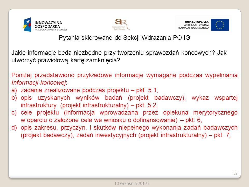 Pytania skierowane do Sekcji Wdrażania PO IG