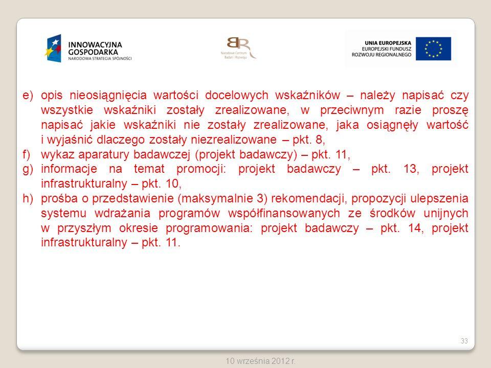 wykaz aparatury badawczej (projekt badawczy) – pkt. 11,