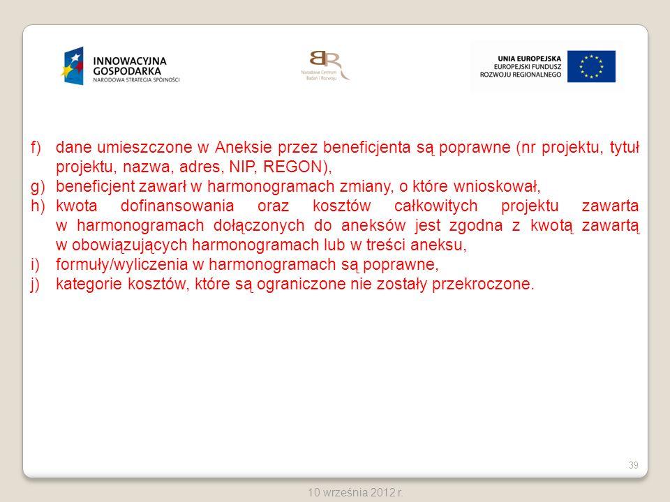 dane umieszczone w Aneksie przez beneficjenta są poprawne (nr projektu, tytuł projektu, nazwa, adres, NIP, REGON),