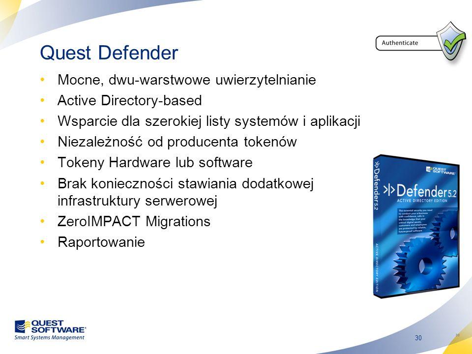 Quest Defender Mocne, dwu-warstwowe uwierzytelnianie