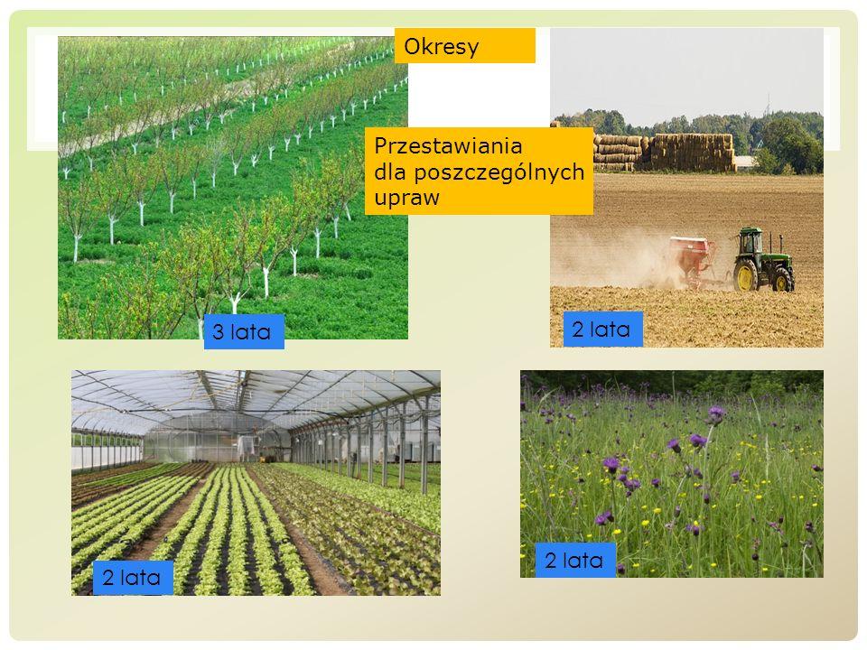 Okresy Przestawiania dla poszczególnych upraw 3 lata 2 lata 2 lata 2 lata