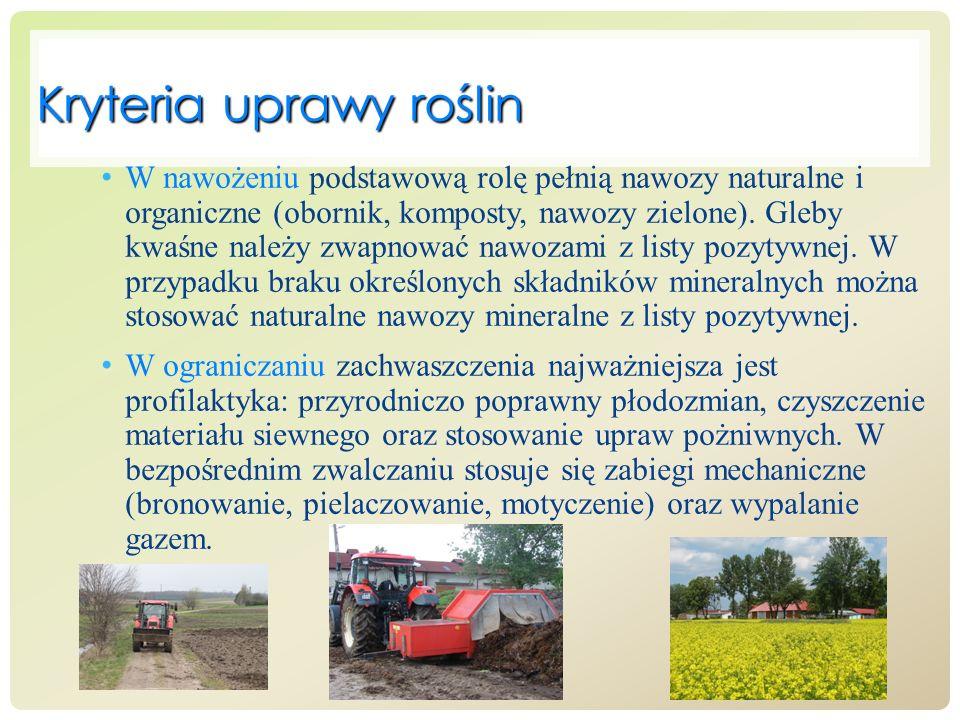 Kryteria uprawy roślin