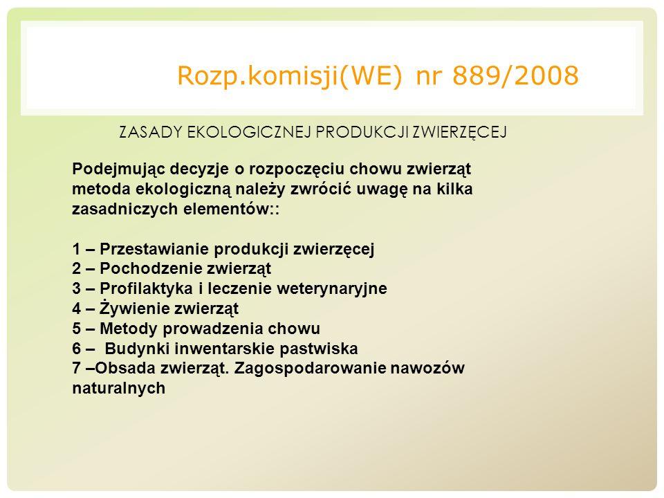 Rozp.komisji(WE) nr 889/2008 ZASADY EKOLOGICZNEJ PRODUKCJI ZWIERZĘCEJ