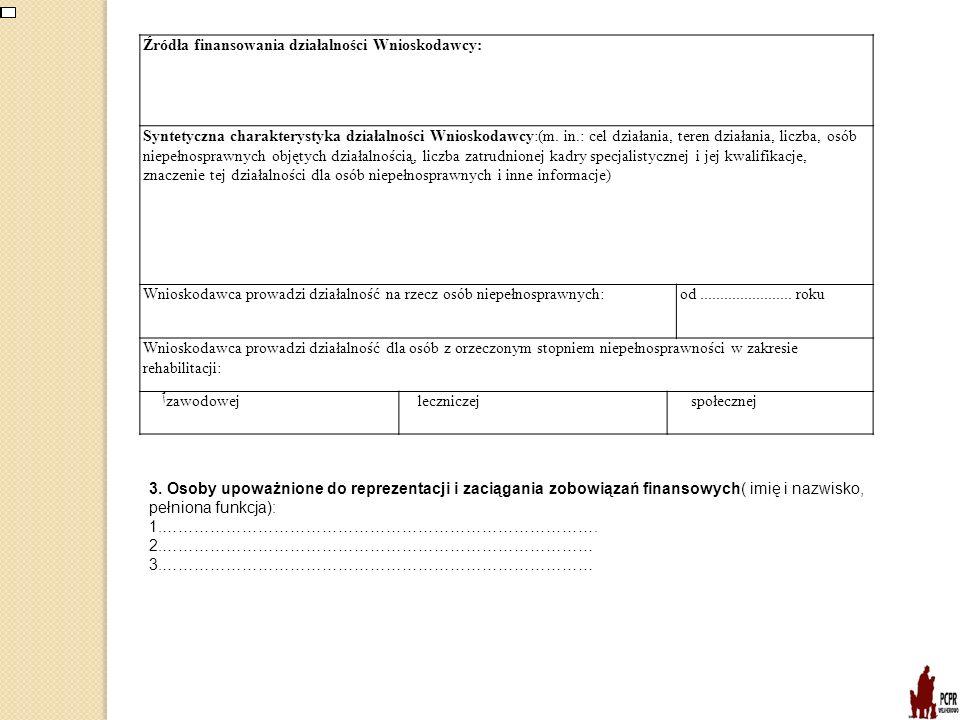 Źródła finansowania działalności Wnioskodawcy: