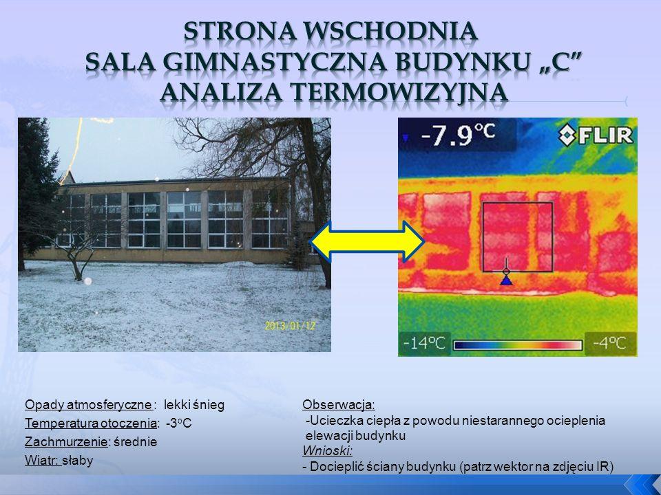 """Strona wschodnia sala gimnastyczna budynku """"C analiza termowizyjna"""