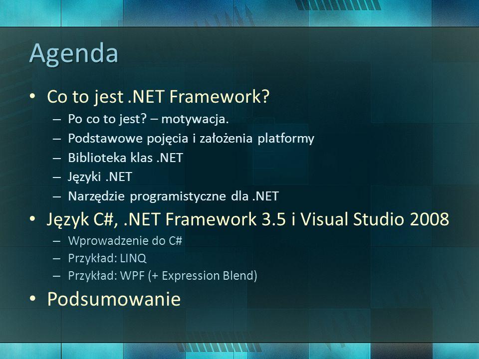 Agenda Podsumowanie Co to jest .NET Framework