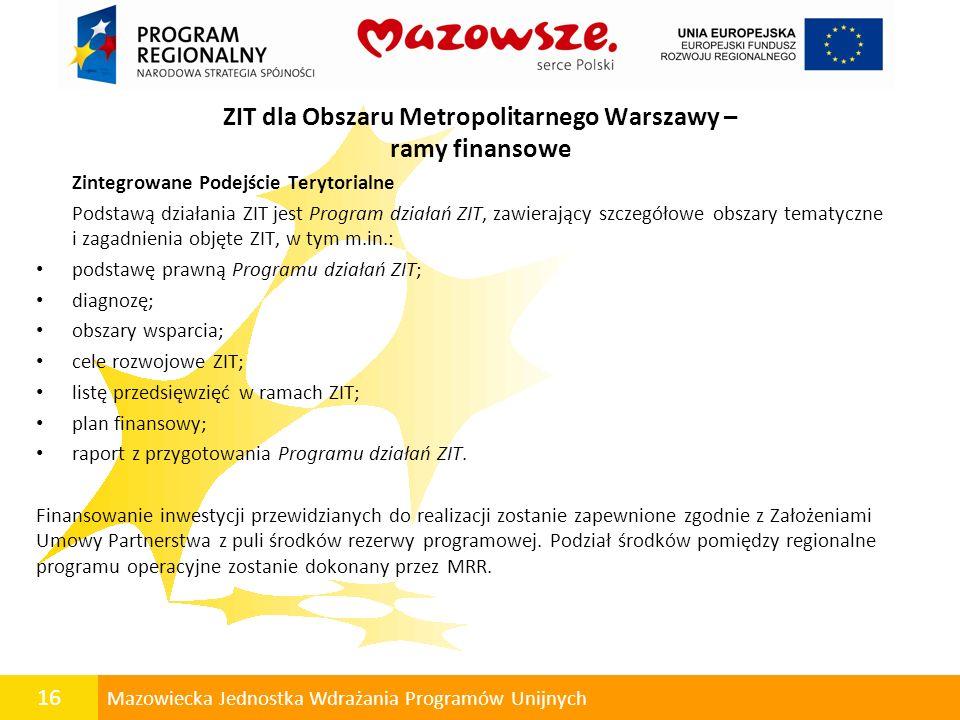 ZIT dla Obszaru Metropolitarnego Warszawy – ramy finansowe