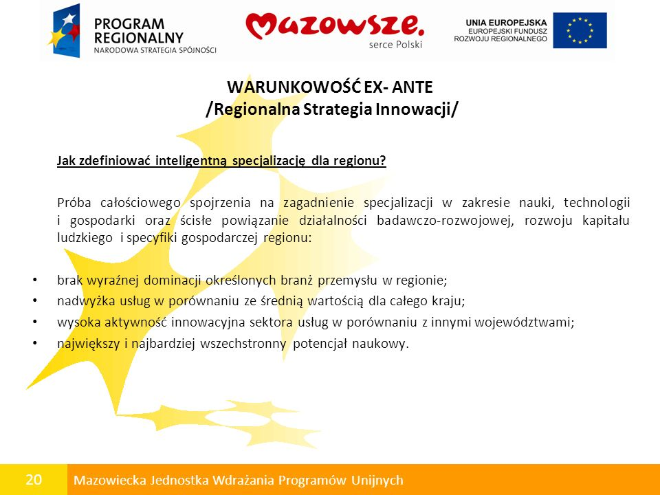 WARUNKOWOŚĆ EX- ANTE /Regionalna Strategia Innowacji/
