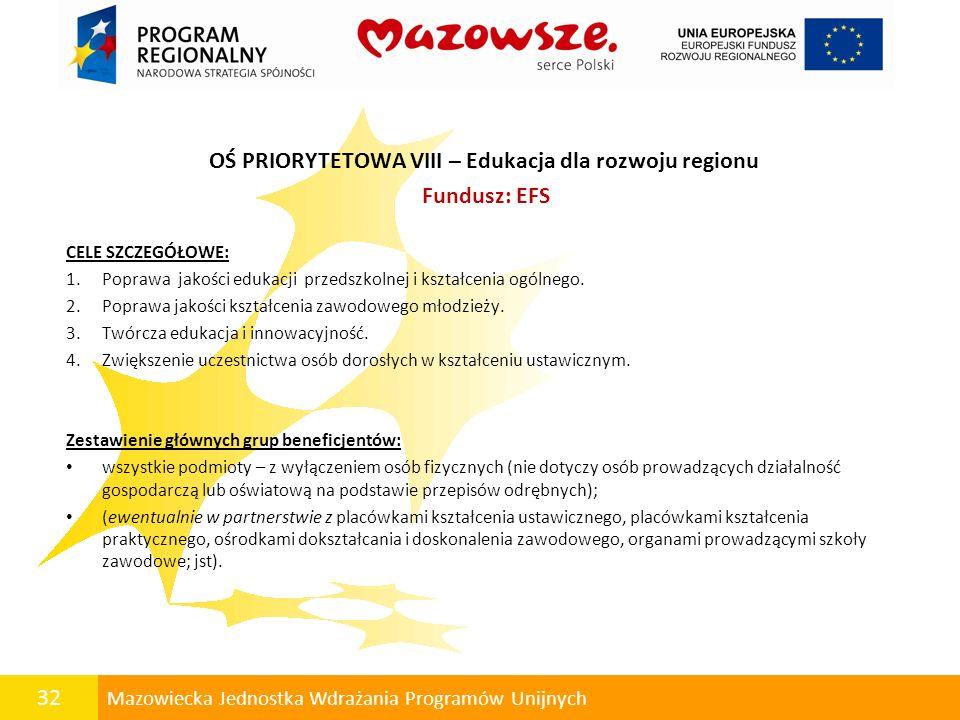 OŚ PRIORYTETOWA VIII – Edukacja dla rozwoju regionu