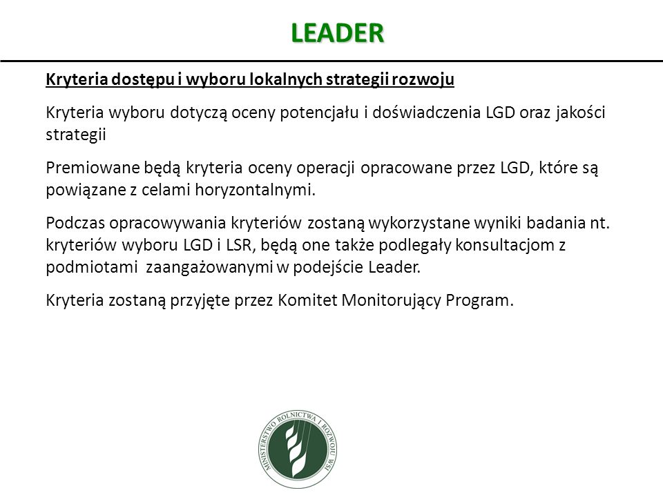 LEADER Kryteria dostępu i wyboru lokalnych strategii rozwoju