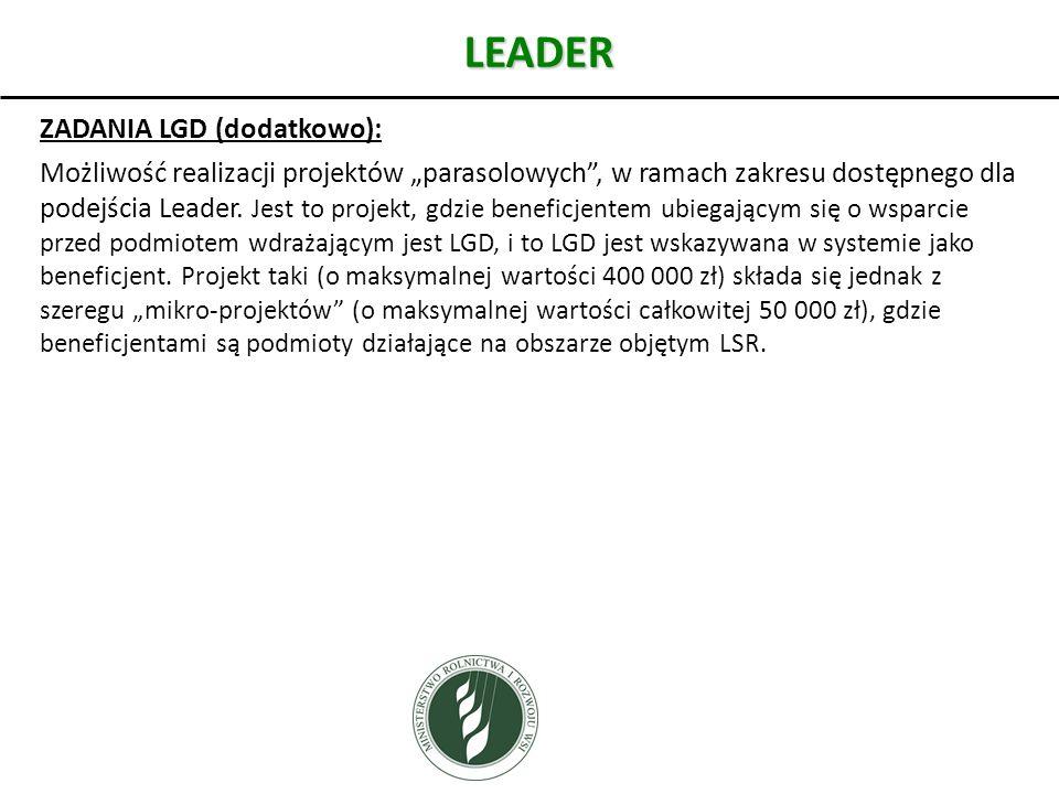 LEADER ZADANIA LGD (dodatkowo):