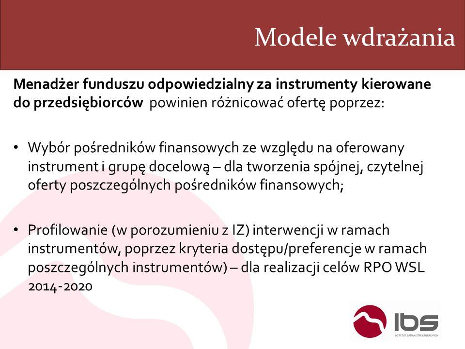 Modele wdrażania Menadżer funduszu odpowiedzialny za instrumenty kierowane do przedsiębiorców powinien różnicować ofertę poprzez: