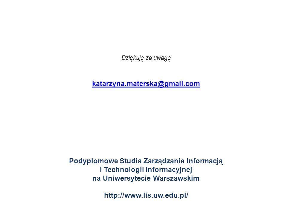 Dziękuję za uwagękatarzyna.materska@gmail.com. Podyplomowe Studia Zarządzania Informacją i Technologii Informacyjnej na Uniwersytecie Warszawskim.