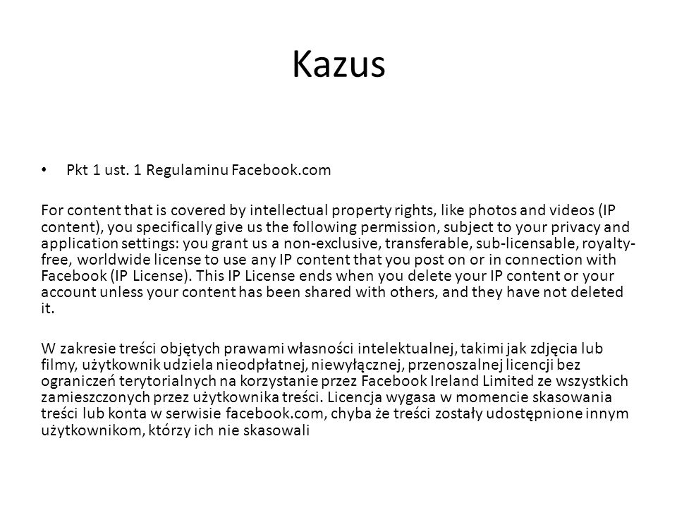 Kazus Pkt 1 ust. 1 Regulaminu Facebook.com