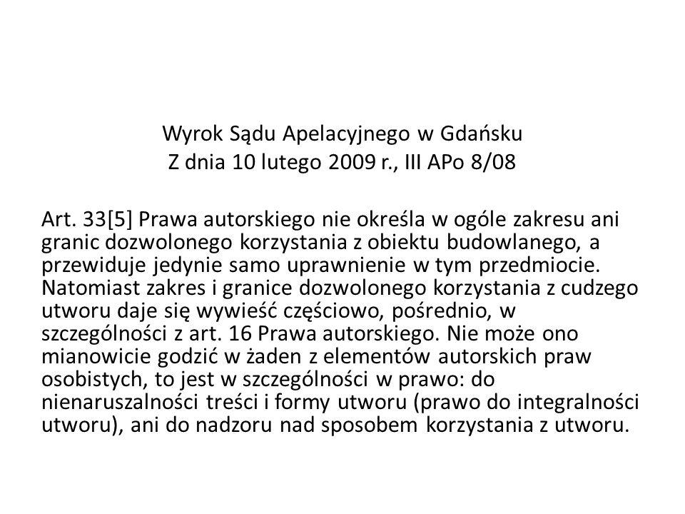 Wyrok Sądu Apelacyjnego w Gdańsku Z dnia 10 lutego 2009 r