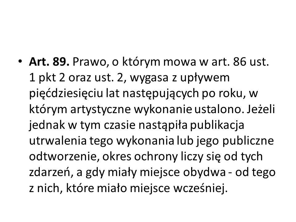 Art. 89. Prawo, o którym mowa w art. 86 ust. 1 pkt 2 oraz ust