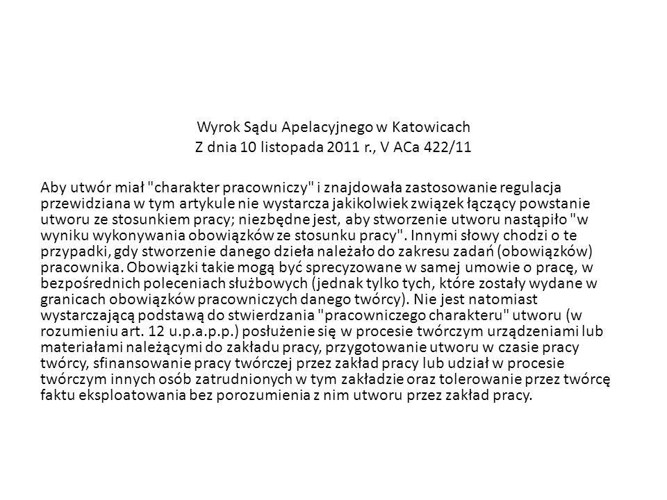 Wyrok Sądu Apelacyjnego w Katowicach Z dnia 10 listopada 2011 r