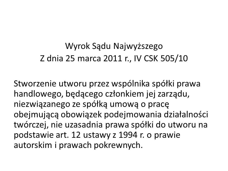 Wyrok Sądu Najwyższego Z dnia 25 marca 2011 r